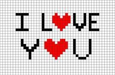 I love you Pixel Art- # Pixel - Stitching Projects Pixel Art Love, Image Pixel Art, Graph Paper Drawings, Graph Paper Art, Pixel Art Minecraft, Pixel Pixel, Minecraft Buildings, Cross Stitch Love, Cross Stitch Patterns