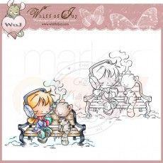 Whiff of Joy Rubber Stamp - Maya & Kitty Drinking Hot Tea