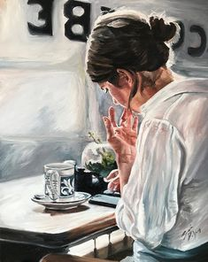 Cafe Art Print featuring the painting In The Cafe by Sarah DeYong Watercolor Journal, Watercolor Art, Painting Of Girl, Human Painting, Cafe Art, Couple Art, Art Sketchbook, Art Girl, Girl Artist