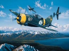 The top Finnish ace, Eino Juutilainen, attained thirty-three of his incredible ninety-four victories while flying the Brewster Buffalo. Several of his victories were obtained against American-built Curtis P-40s, which had been sold to the Red Air Force. In his dramatic depiction, entitled Buffalo Ace, aviation artist Stan Stokes shows Juutilainen in action against Soviet P-40s during the defense of Finland.