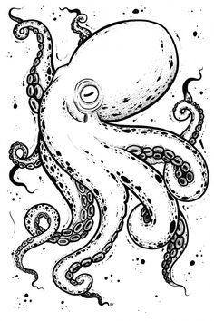 Octopus Tattoo Design, Tattoo Design Drawings, Cute Drawings, Cute Octopus Tattoo, Octopus Illustration, Tattoo Illustration, Doodle Tattoo, Poke Tattoo, Bullet Journal Design Ideas