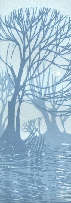 A group of willow trees by a river near Cambridge.  I love the shapes of these trees and the simple silhouettes in the blocks of blue.  This is a three colour reduction hand made screen print o...