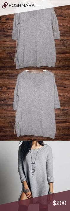 FREE PEOPLE Classic Sweater Top Bohemian Pullover Available Sizes:  Small. Brand new without tags. $128 MSRP + Tax.  • Effortless gray sweater tunic featuring textured, worn-in detailing & ribbed hemlines.  • Soft, semi-stretchy silhouette & vented sides. • Intentional worn-in aspect. • Rolled sleeves are 3/4 length. • Cotton, Nylon, Rayon, Cashmere. • Measurements provided in comments below.  {Southern Girl Fashion - Closet Policy}   ✔️ Same-Business-Day Shipping (10am CT). ✔️ Price shown…