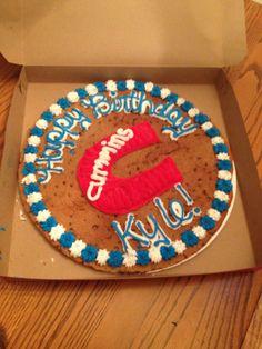 Cookie Cake Ideas For Boyfriend : I made this triple chocolate Cummins themed birthday cake ...