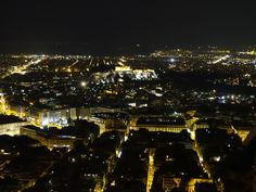 Athens by night, captured from Lycabettus Hill.