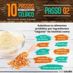 A Doença Celíaca é um distúrbio digestivo em reação ao glúten. Conheça 10 passos para a alimentação do celíaco e alimentos permitidos na dieta sem glúten. Halloumi, Health, Gluten Free Diet, Potato Flour, Gluten Intolerance, Food Allergies, Diet Recipes, Food Items, Rice
