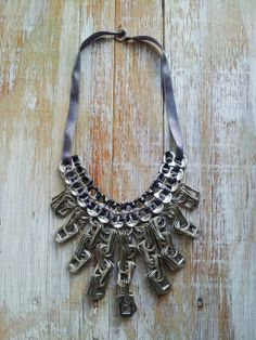Up-cycled & Eco-fashion Grey Bib Chain Necklace. Hand made with Pull Tabs/Ring Pulls. Aztec Collection