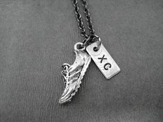 RUN XC - Pewter and Nickel pendants priced with 18 inch gunmetal chain
