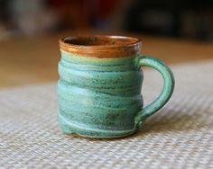 Ceramic Turquoise Mug, Wheel Thrown Mug, Handmade Mug, Coffee Mug, $15.00 -  love the color