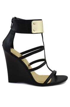 Jaida Gold Ankle Cuff Wedge - Black