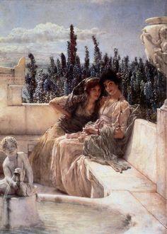"""Whispering Noon"" (1896) von Lawrence Alma-Tadema (geboren am 8. Januar 1836 in Dronrijp, Niederlande, gestorben am 25. Juni 1912 in Wiesbaden), niederländischer Maler."