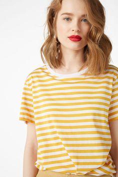 Soft tee - Yellow/white stripe - Tops - Monki GB