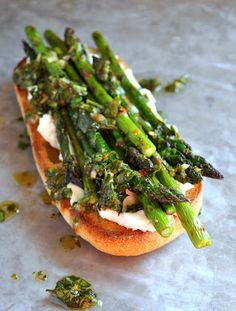 Open Faced Ricotta, Roasted Asparagus Sandwich Serve on a Rudi's Organic Roll!: http://www.rudisbakery.com/organic/product/wheat-hot-dog-rolls/