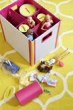 Get your kids organized with crafty cleaner-uppers that will brighten up their rooms too! Here's an idea: Contain Barbie and all her clothes!