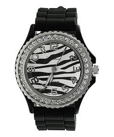 Black & Sparkle Zebra Silicone Geneva Watch