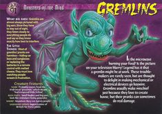 Name: Gremlins Category: Monsters of the Mind Card Number: 91 Front: Gremlins Monsters of the Mind card 91 front Back: Gremlins Monsters of the Mind card 91 back Trading Card: Wild Creatures, Fantasy Creatures, Mythical Creatures, Strange Creatures, Monster Book Of Monsters, Monster Cards, Monster Hunter World, Horror Icons, Classic Monsters