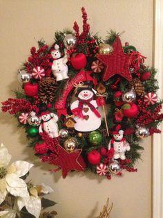 Christmas Wreath with Snowmen  Winter Wreath w by LoneStarLucy