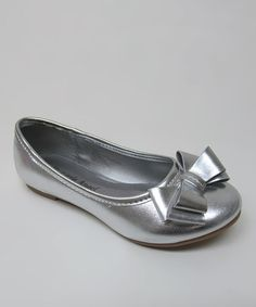 Take a look at this Silver Bow Carly Ballet Flat by Little Angel on #zulily today!