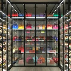 Left Side of Walking Closet Casa Kardashian, Bag Closet, Shoe Closet, Decoration Chic, Luxury Homes Dream Houses, Walk In Wardrobe, Luxury Closet, Replica Handbags, Designer Handbags