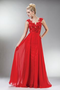 2014 Scoop Neckline Embellished Bodice With Beadeds And Applique Long Chiffon Prom Dress