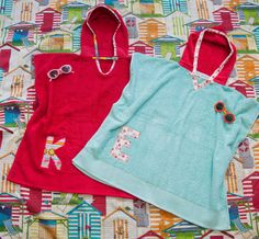 Hooded Towel Poncho, in Red. Boy or Girl print (your choice). Bath or beach towel. By Mommy Can Sew, via Etsy