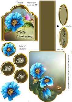 Blue Poppies Anniversary Gold  on Craftsuprint designed by Maria Christina Vieira  - Mini Easel quick card withbeautiful Himalayan Blue Poppies.(Happy Anniversary on Topper)Other text:With Love,50,25,10 - Now available for download!