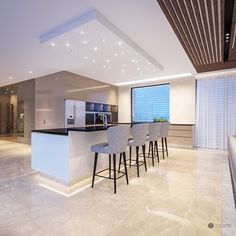 Interior design of this residence reflects the fusion of creamy tones and elements of glamour and exclusivity of the Arab world. Kitchen Fabric, Kitchen Wall Tiles, Living Room Kitchen, New Kitchen, Kitchen Island, Pantry Design, Design Kitchen, Small Kitchen Storage, Diy Fireplace