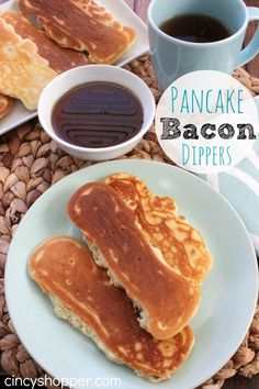 Pancake Bacon Dippers. Perfect for on the go breakfasts. The kids can eat them in the car on the way to school.