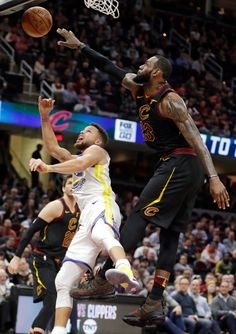 huge selection of d68ff f446e Cleveland Cavaliers  LeBron James blocks a shot by Golden State Warriors   Stephen Curry, left, in the second half of an NBA basketball game, Monday,  ...