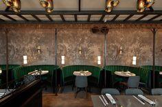 76 Modern Restaurant Interior Design Jue Lan Club New york United States The Americas Restaurant Design Café, Bar Interior Design, Restaurant Interior Design, Commercial Interior Design, Cafe Design, Booth Design, Design Ideas, Design Trends, Luxury Interior