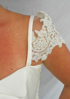 Transform your Wedding Gown into a one of a kind custom design.These stunning Detachable Beaded Lace Wedding Gown Cap Sleeves are Beaded Trim, Beaded Lace, Bridal Lace, Lace Wedding, Wedding Bells, Wedding Dresses With Straps, Wedding Dress Accessories, Strapless Gown, Vintage Gowns
