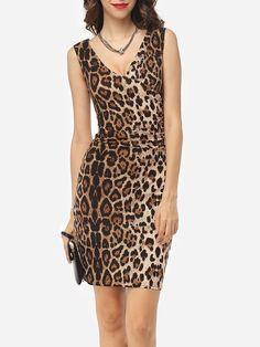 #Fashionmia - #Fashionmia Leopard Sexy Deep V Neck Bodycon-dress - AdoreWe.com