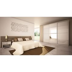 Manhattan Comfort NoHo White High Gloss Armoire 34284 - The Home Depot Contemporary Armoires And Wardrobes, White Sliding Wardrobe, Bedroom Cupboards, Cupboard Drawers, All Modern, Sliding Doors, Bedroom Decor, Manhattan, Interior