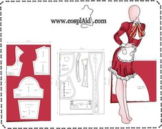 Cutting instructions for Asuna Yuuki cosplay by Cosplaid on DeviantArt Cosplay Anime, Cosplay Diy, Cosplay Outfits, Anime Outfits, Boho Outfits, Cosplay Costumes, Barbie Patterns, Costume Patterns, Doll Clothes Patterns