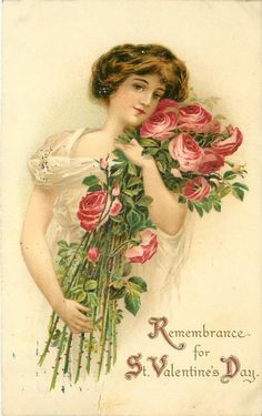 REMEMBRANCE FOR ST. VALENTINE'S DAY  girl carries armsful of exaggerated roses