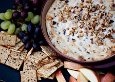 Blue Cheese Bacon Dip. Excellent on a cool fall day!  Serve with apples. The sweet pairs nicely with the salty of the blue cheese and bacon.