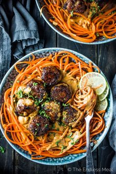 Thai Chicken Curry Meatballs are served over carrot noodles with coconut satay sauce. They are a crazy delicious and healthy dinner recipe that won't leave you feeling like you're missing out. You will LOVE them! | paleo + dairy-free + Whole30 compliant |