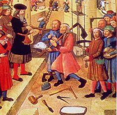 Carpenters are inspected by the grandmaster of the order of St. John in Rhodes. Miniature detail from MS Lat. 6067 by guillaume caoursin, 1480