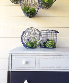 Painted dresser by Amanda of Ferpie and Fray in Coastal Blue and Seagull Grey by General Finishes