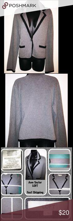 Ann Taylor Loft  Blazer Sweater 💥Make An Offer💥 Ann Taylor Loft Large Blazer Sweater Jacket Gray And Black Cotton. No rips, stains or tears. Ann Taylor Jackets & Coats Blazers