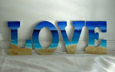 Beach LOVE Hand Painted Letters by KaiHinaCoastal on Etsy