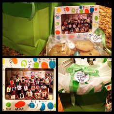 """A """"Thank You"""" gift I composed for my parent volunteers: students thumb-printed the frame and wrote their names. Inside is a picture of the class holding up letters to spell 'thank you.' I presented it with homemade, mint chocolate chip cookies with a tag that read, """"Thank you! It 'mint' so much!"""" :)"""