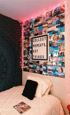51 Elegant Dorm Room Decorating Ideas Decorating a dorm room can be a scary thin Teen Room Decor Ideas decorating dorm elegant Ideas Room scary thin Cute Room Ideas, Cute Room Decor, Diy Room Ideas, Diy Bedroom Decor For Teens, Bedroom Diy Teenager, Picture Room Decor, Room Decor Bedroom, Bedroom Ideas For Small Rooms Diy, Photo Room