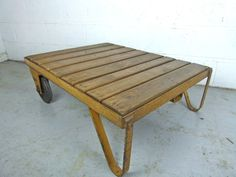 Vintage industrial factory trolley cart table - eyespy