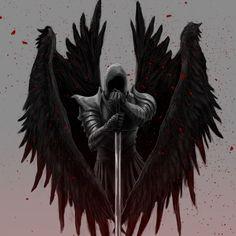 Angel Warrior Tattoo, Angel Of Death Tattoo, Warrior Tattoos, Fantasy Art Angels, Dark Fantasy Art, Archangel Tattoo, Knight Tattoo, Mythology Tattoos, Angel Wallpaper
