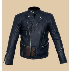 Brando Classic Quilted Men's Motorcycle Blue Leather Jacket
