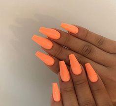 Pin By Tay Jackson On Uñas In 2019 Orange Acrylic Nails, Nail . Pin By Tay Jackson On Uñas In 2019 Orange Acrylic Nails, Nail . Pin by Tay Jackson on Uñas in 2019 Orange acrylic nails, Nail coffin nails neon orange - Coffin Nails White Tip Acrylic Nails, Bright Summer Acrylic Nails, Remove Acrylic Nails, Acrylic Nail Shapes, Acrylic Nail Designs, Natural Looking Acrylic Nails, Summer Nails Neon, Natural Nails, White Acrylics