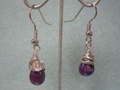 Wire Wrapped Purple Earrings #DIY