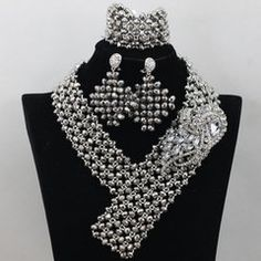 #00EA143 - African Nigerian Beads Wedding Necklace Set