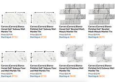 Posts about carrara backsplash written by thebuilderdepot Marble Subway Tiles, Carrara Marble, Bath Tiles, Mosaic Tiles, Marble Showers, Tiles Price, Italian Marble, Backsplash, Countertop